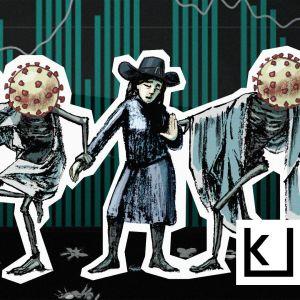 Luurangot, joiden pää on koronavirus, tanssivat.