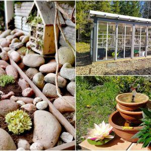 Bildcollage av lusthus, insekthotell och fontän
