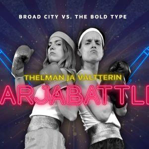 Nyrkkeiluasuihin pukeutuneet mies ja nainen seisovat selät vastakkain. Hahmojen päällä on teksti Thelman ja Valtterin Sarjabattle.