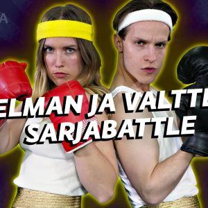 Mies ja nainen poseeraavat hikinauhoissa ja nyrkkeilyhanskoissa taistelunhaluisen näköisinä. Kuvassa lukee Thelman ja Valtterin sarjabattle.
