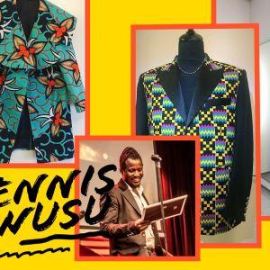 Muotisuunnittelija Dennis Owusu ja hänen töitään.