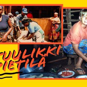 Henkilöt kuljettavat riisiä torilla Kilimanjarolla ja toisessa kuvassa on Helsingin yliopiston lehtori Tuulikki Pietilä.