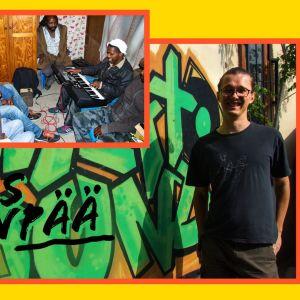 Tutkija Tuomas Järvenpää sekä paikallinen reggaeyhtye kuvattuina Kapkaupungissa.