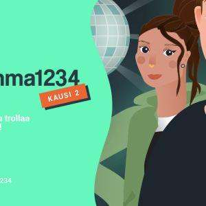 Emma1234 kansikuva. Kaksi piirrettyä hahmoa ja teksti Emma1234 kausi 2 - Selvitä, kuka trollaa luokkalaisia!