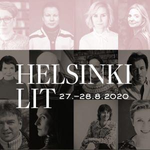 Kollaasi Helsinki Lit -festivaalin 2020 esiintyjistä: kirjailijoita ja toimittajia.