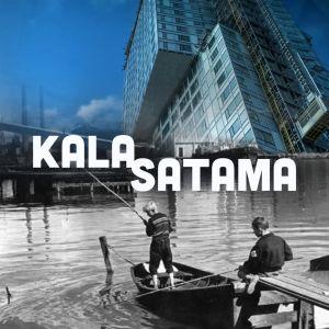 Teoskuvan kuvakollaasin alalaidassa mustavalkoisessa kuvassa kaksi pellavapäistä pikkupoikaa kalastaa puisella laiturilla, ylälaidassa kohoavat nykyaikaiset tornitalot