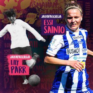 Kuvassa yhdistetty kaksi valokuvaa naisista eri aikakausilta, jalkapalloilijat Essi Sainio ja Lily Parr.