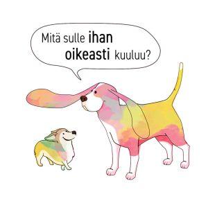Kaksi koiraa, joista isompi nostaa ison korvansa pienempää kohti, piirrosgrafiikka.