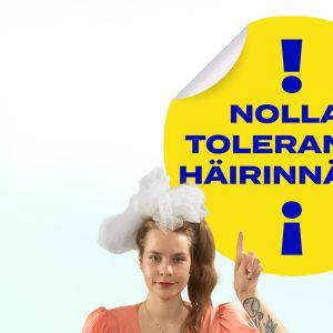 Ina Mikkola nollatoleranssi häirinnälle -tarran alla.