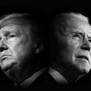 Henkilökuva kahtia jakautuneen kansan presidenttiehdokkaista, Trumpista ja Bidenista.