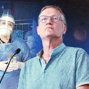 Sairaanhoitaja pukeutunut suojavarusteisiin, etualalla Ruotsin valtionepidemiologi Anders Tegnell