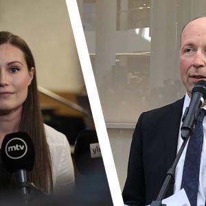 Statsminister Sanna Marin och Sannfinländarnas ordförande Jussi Halla-aho