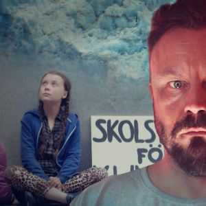 Riku Rantala kuvassa, jonka taustalla näkyy Greta Thunberg istumassa koululakkokyltin kanssa.