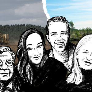 Kolme ilmastoaktivistia ja Markku Ollikainen piirroskuvina, taustalla suo- ja peltomaisemaa