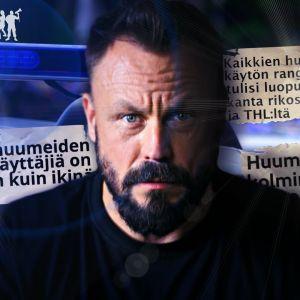 Riku Rantala kuvassa, jossa taustalla näkyy lehtiotsikoita revinttyinä.