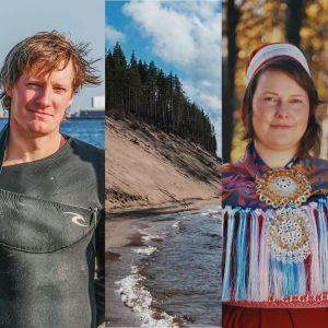 Kollaasikuvassa kolme henkilöä (surfaaja, saamenpukuinen henkilö ja kaupan ovesta kurkistava lippalakkipäinen henkilö) ja kaksi maisemakuvaa (hiekkatörmä, järvenranta ja patsas)