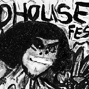En teckning i svart av ett huvud som sticker fram ur ett buskage, ovanför står det skrivet Bad House Festival.