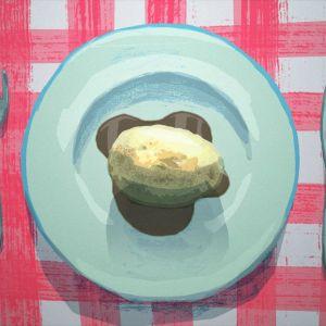 Lautasella peruna ja kastike