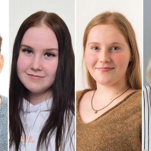 Ett kollage av porträttbilder på Eino Laine, Alexandra Luukkonen, Mi Adolfsson och Ida Patoranta.