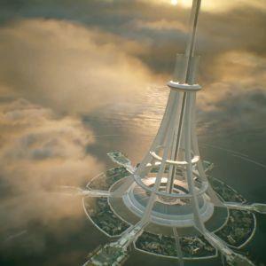 Konstnärens vivion av en hiss till rymden.