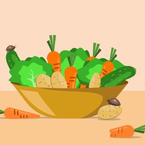 Piirroskuvassa on korissa satokauden vihanneksia sekä niillä herkutteleva jänis ja kuoriaisia.