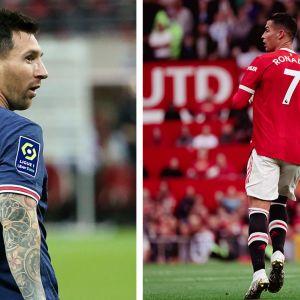 Lionel Messi pelinumerolla 30 ja Cristiano Ronaldo pelinumerolla 7