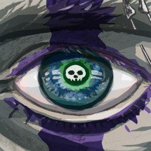 Kuvituskuvassa silmä jonka iiriksessä heijastuu paakallo. Silmäkulmassa on hakaneula ja vahva kajaali on maalattu koko silmän yli