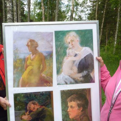 Astrid Lindström och Britta Idman med teckningar av Venny Soldan-Brofeldt i mitten.