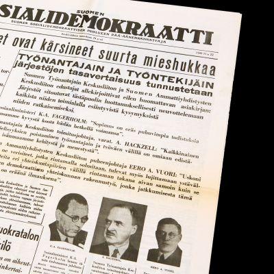 Suomen sosiaalidemokraatti -lehti vuodelta 1940