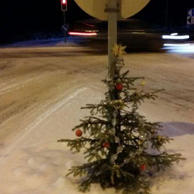 Pieni koristeltu joulukuusi liikenteenjakajassa