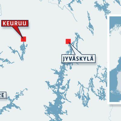 Keuruun alueen kartta.