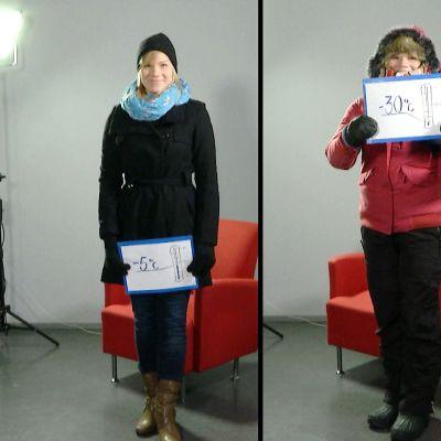 Yle Oulun toimittaja Kati Jurkko esittelee lämpimiä asuja eri talvikeleille.