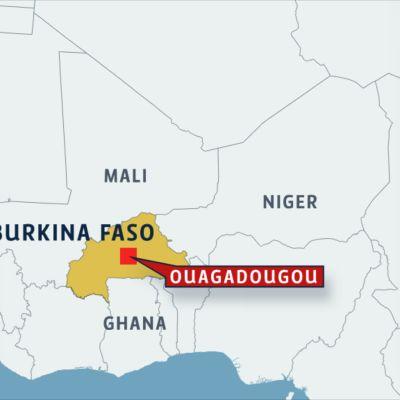 Kartta, jossa näkyy Burkina Fason sijainti Afrikassa. Karttaan on merkitty myös pääkaupunki Ouagadougou.