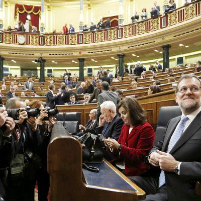 Mariano Rajoy  Espanjan parlamentin istunnossa Madridissa.