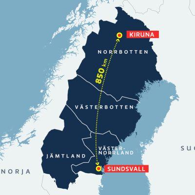 Ruotsin neljä pohjoisinta lääniä saatetaan yhdistää valtavaksi Norlannin lääniksi.