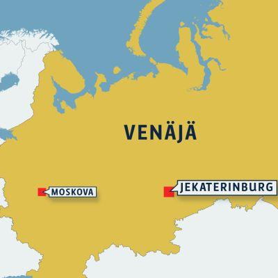 Venäjän kartta jossa Jekaterinburg