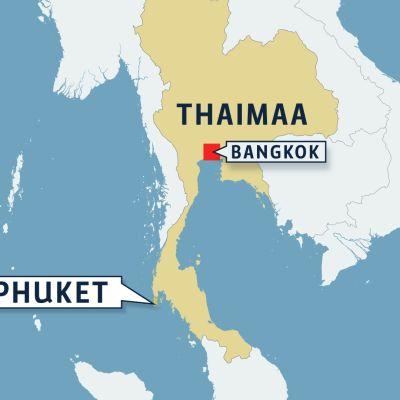 Thaimaa kartta.
