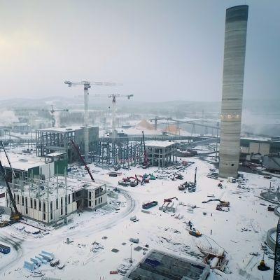 Metsä Groupin Äänekosken tehtaan työmaa ilmasta.
