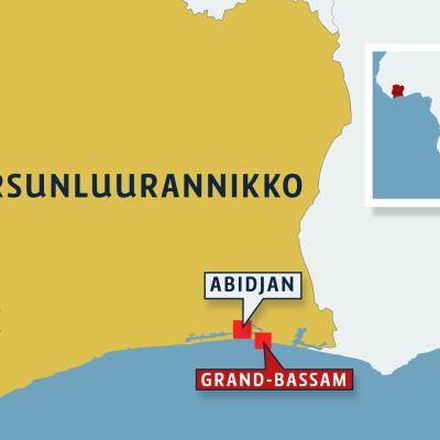 Kartta Norsunluurannikosta.