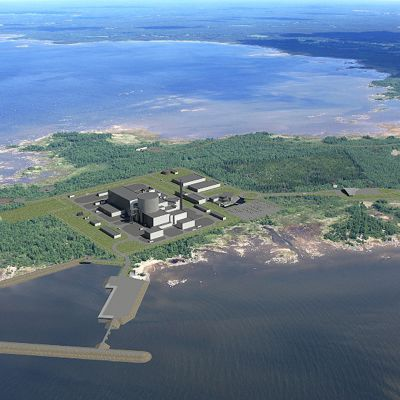 Havainnekuva Hanhikiven ydinvoimalasta.