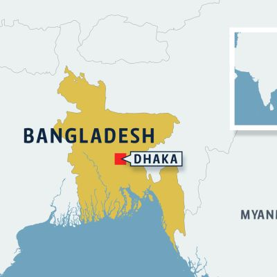 Bangladeshin kartta jossa Dhaka