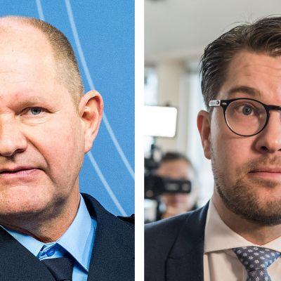Dan Eliasson (vas.) ja Jimmie Åkesson.