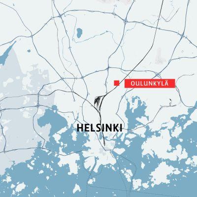Helsingin kartta jossa Oulunkylä