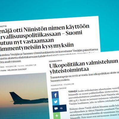 Kuvakaappaus kahdesta Helsingin Sanomien artikkeleista.