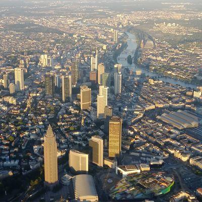 Ilmakuva Frankfurtista.