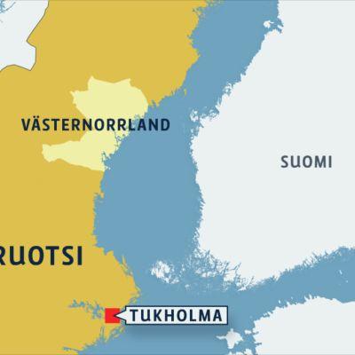 Ruotsin kartta, jossa Västernorrlandin lääni.