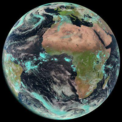 Meteosat-10-satelliitin kuva maapallosta.