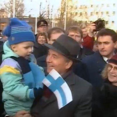 Neuvostoliiton presidentti Mihail Gorbatŝov valtiovierailulla Oulussa 27.10.1989.