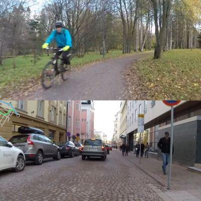 katunäkymä Oulun pyöräreiteiltä