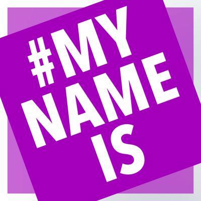 Vaaleanpunainen #MY NAME IS -logo.